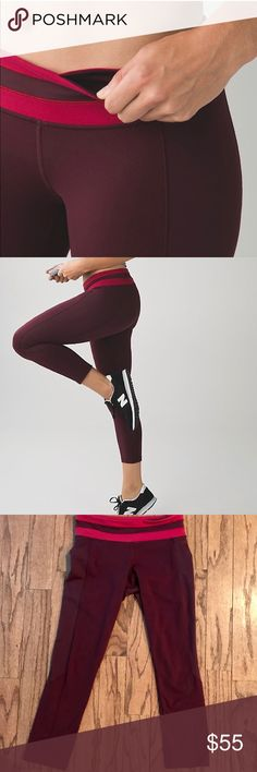 """Lululemon Give Me Qi Crop Lululemon Give Me Qi Crop, Size 4 *inseam: 23"""" leg opening: 10 3/4""""  *Material: Full-On Luon, Full-On Luxtreme *Color: bordeaux drama / cranberry *Lightly worn, overall in great condition! **Ships in One Business Day** lululemon athletica Pants Ankle & Cropped"""