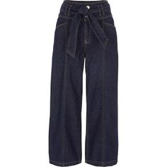 So we have been seeing a bit of dark denim trend at the moment, now denim in general is having a bit of a moment still but thought it might. Dark Blue Tie, Denim Culottes, Dark Blue Denim Jeans, Mom Jeans, Skinny Jeans, Denim Trends, Button Fly Jeans, High Waist Jeans, Lady