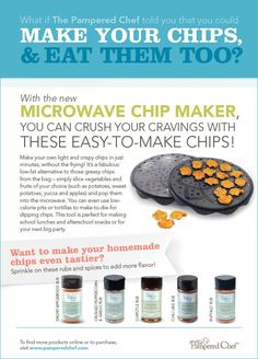 The Pampered Chef microwave chip maker is amazing!! Not only can you make awesome potato chips but you can also make apple chips, sweet potato chips, kale, jicama...
