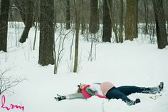 snow angel pregnant mother - Christmas