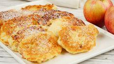 Apfel-Quark-Puffer - Apfelpüfferchen - Quarkpuffer - YouTube Sweet Recipes, Real Food Recipes, Cooking Recipes, Yummy Food, Quark Recipes, Breakfast Recipes, Dessert Recipes, Crepes, Omelet