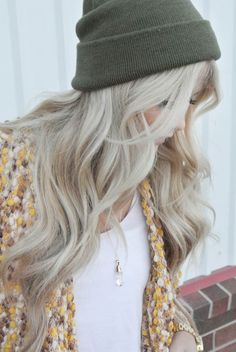 Hair : Even when she wears a woollen beanie over her long blonde hair
