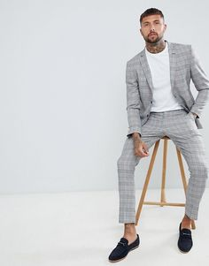 12fead01f053 boohooMAN | boohooMAN suit jacket in prince of wales check Groom Style,  Prince Of Wales