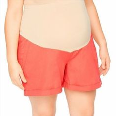14.84$  Watch here - http://vivql.justgood.pw/vig/item.php?t=xxi6s2z11194 - Dark Orange Maternity Shorts NWT 2X Cuffed Secret Fit Belly Oh Baby Motherhood 14.84$