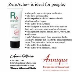 Annique Rooibos products ZeroAche Sore Muscles, Neck Pain, Arthritis, Stress, Medical, Personal Care, Beauty, Products, Sore Neck