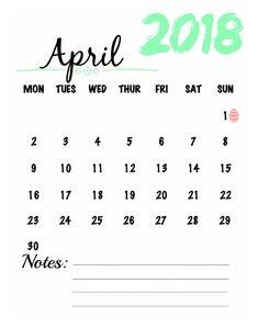 April 2018 Watercolor Calendar Printable