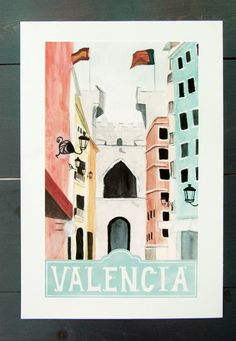 Valencia Spain Travel Poster by StripedCatStudio on Etsy