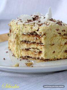 Kokos torta sa turskim keksom(rum...umesto likera od jaja) Coconut Recipes, Baking Recipes, Cookie Recipes, Dessert Recipes, Bulgarian Recipes, Croatian Recipes, Kolaci I Torte, Torte Cake, Just Cakes