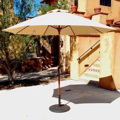 Galtech 9' Market Umbrella Fabric: Antique Beige, Frame Finish: White