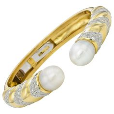 Baroque Pearl Gold Hinge Cuff Bracelet | 1stdibs.com
