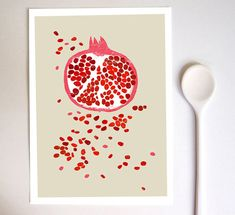 Pomegranate print  Fruit art 11x15  archival fine art door anek