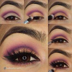 Easy step by step purple cut crease makeup #cutcreasestepbystep