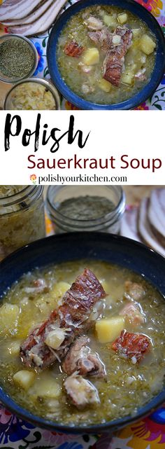 """Real Polish Sauerkraut Soup with Pork Ribs – Polish recipe for a sauerkraut soup with smoked pork ribs """"kwaśnica"""" comes from the mountain r – Russians have some of the most diverse and fascinating dis Casserole Dishes, Casserole Recipes, Soup Recipes, Cooking Recipes, Sauerkraut Soup Recipe, Polish Soup, Smoked Pork Ribs, Pork Soup, Soup Appetizers"""