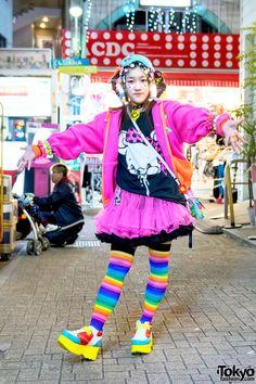 Colorful Harajuku decora wearing lots of fun hair clips along with platform  shoes 4e5d2e948eeb