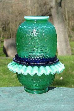 Fenton Art Glass EMERALD GREEN OPALESCENT Persian Medallion 3 PIECE FAIRY LIGHT