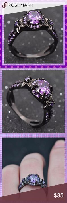 Black Gold Filled Amethyst Ring STUNNING 10K Black Gold Filled Ring with Lab-Created Amethyst Stones. Main stone is approx. 1.28 Carat, surrounded by small amethyst around main stone and small amethyst stones going down both sides of the band. This ring is high quality and sparkles amazingly! You will not be disappointed Boutique Jewelry Rings