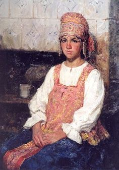 Russian costume in painting. Alexander Kosnichev. 2000. Girl in Russian Costume. #art #painting #Russia