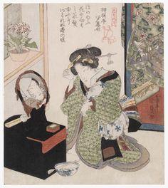 Flowers: Woman with Mirror, from the series Flowers and Birds, Wind and Moon (Kachô fûgetsu)    「花鳥風月」 花、鏡台と美人  Japanese  Edo period  about 1824 (Bunsei 7)  Artist Utagawa Kunisada I (Toyokuni III) (Japanese, 1786–1864)