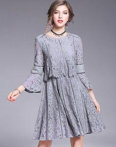 #AdoreWe #VIPme Sheath Dresses - LVENZSE Grey Bell Sleeve Cotton Lace Sheath Dress - AdoreWe.com
