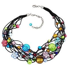 Fine and Fashion Jewelry Finds: Murano Glass Beads and Flowers on Multi-strand Necklace