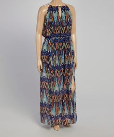 Another great find on #zulily! Orange & Royal Abstract Maxi Dress - Plus #zulilyfinds
