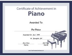 Printable music certificates free music certificate templates pianists organists and keyboard players will all enjoy this free printable certificate of achievement yadclub Choice Image