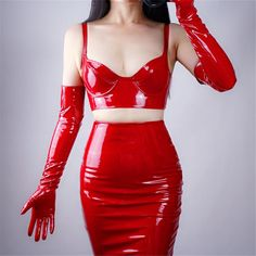 Patent Leather Gloves Bright Red Extra Long Imitation Genuine Leather Unlined Cosplay Woman Mittens Gloves Size M Color long Red Fashion, Girl Fashion, Fashion Outfits, Womens Fashion, Red Gloves, Leather Gloves, Latex Sexy, Rupaul, Mode Latex