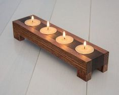 Wood candle holder. Tea light candle holder. Home by ecokazen #WoodworkingProjectsCandleHolder
