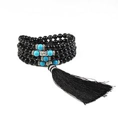 Obsidian Bracelet BAYUEBA Gemstone Tibetan Buddhist Buddha Meditation 108 Mala Prayer Bead Necklace Turquoise >>> ** AMAZON BEST BUY ** #BuddhistPrayer Buddhist Prayer, Buddha Meditation, Special Deals, Prayer Beads, Cool Things To Buy, Stuff To Buy, Turquoise Bracelet, Prayers, Beaded Necklace