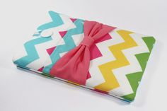 iPad mini case with pocket, iPad mini sleeve, iPad mini cover, Padded - Multi chevron with bow on Etsy, $34.07 AUD
