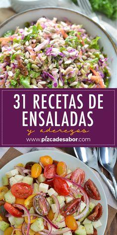 31 recetas de ensaladas y aderezos. Lunch Recipes, Gourmet Recipes, Salad Recipes, Vegetarian Recipes, Dinner Recipes, Cooking Recipes, Healthy Recipes, Yummy Food, Tasty