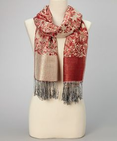 Take a look at this Red & Gray Floral Fringe Pashmina-Silk Blend Scarf by Italmode on #zulily today!