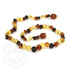 Baltic Baby Amber Necklace Rounded Beads- Multi (S/M)