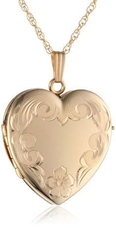 14k Yellow Gold Filled Engraved 4-Picture Heart Locket.