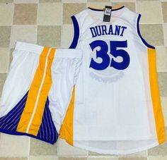 Warriors #35 Kevin Durant White A Set Stitched NBA Jersey