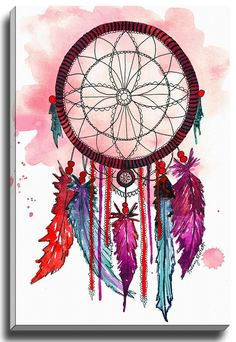 Dream Catcher Print of Original Watercolor Painting - Native American wall art - Office decor and home decor Dream Catcher Painting, Dream Catcher Drawing, Dream Catcher Canvas, Purple Dream Catcher, Dream Catcher Boho, Dream Catchers, Painting Prints, Watercolor Paintings, Watercolor Print