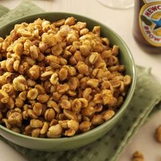 Sweet & Spicy Peanuts Recipe -These crunchy peanuts have a caramel-like coating, and hot sauce gives them a touch of heat. They make a tasty snack any time of day.—Taste of Home Test Kitchen