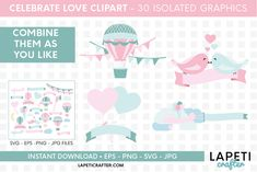 Download Wedding hot air balloon clipart, love clipart, valentine day today! #lapeticrafter #hotairballoon #valentinesday #loveclipart #instantdownload #designbundles Hot Air Balloon Clipart, Baby Shower Clipart, Valentines Day Baby, Create Invitations, Valentines Day Decorations, Illustrations, Design Bundles, School Design, As You Like