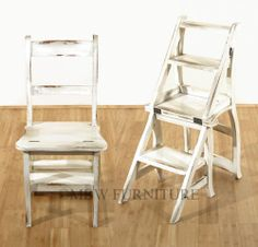 Mahogany Rustic Distressed White Convertible Ladder Chair Library Step Stool 3ad