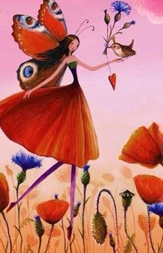 Flower girl artist Illustration by www. Art And Illustration, Fantasy Kunst, Fantasy Art, Photo Deco, Art Carte, Girl Artist, Flower Fairies, Fairy Art, Magical Creatures