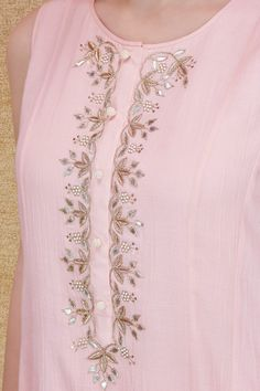 Indian Fashion Designers - Anita Dongre - Contemporary Indian Designer - The Calysta Suit - Embroidery Suits Punjabi, Embroidery On Kurtis, Hand Embroidery Dress, Kurti Embroidery Design, Embroidery Neck Designs, Indian Designer Suits, Indian Fashion Designers, Dress Neck Designs, Blouse Designs