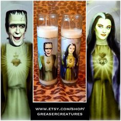 Saint Herman and Lily Munster Prayer Candle Set