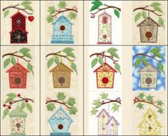 """Tweets Condo Combo Applique"" the  birds are movin' on up, to a condo stitched onto your projects! This cute  set comes with cute birdhouse designs that you can 'paint' any color you  wish dependent on your fabric choices. Great for a fun, avian themed  quilt!"