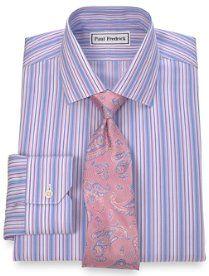 Trim Fit Non-Iron 2-Ply 100% Cotton Stripe Jermyn St. Collar Dress Shirt