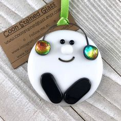 Excited to share this item from my shop: Snowball Ornament Fused Glass Ornament Earmuffs Dichroic Glass Christmas Decoration Holiday Decor Glass Ornament Snowman Tree Decor Broken Glass Art, Shattered Glass, Sea Glass Art, Glass Wall Art, Stained Glass Art, Glass Christmas Decorations, Glass Christmas Ornaments, Holiday Decor, Christmas Clay