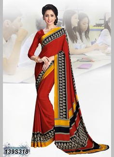 0cb61ad02896a3 SUMMER OFFER FROM SANJANA DESIGNER Get 10% off on your Purchase. Stunning  Red Coloured. Crepe SareeSilk ...