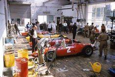 pinterest.com/fra411 #vintage #formula1 - Ferrari garage - Spa 1961.