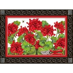 """Garden Geraniums Doormat by MagnetWorks. $25.40. MatMates Doormat SIZE: 18"""" x 30"""". Doormat ONLY. (Tray not included). Vibrant colors, fade-resistant doormats.. Use MatMates Doormats alone or with the decorative tray (as shown).. Made with non-slip rubber. Weatherproof for outdoor or indoor use.. NOTE: Tray sold separately. TRAY SIZE: 24"""" x 36"""".. GARDEN GERANIUMS Mat by MatMatesTMThis MatMatesTM interchangeable doormat is made with a non-slip backing of environ..."""