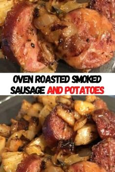 One Pan Meals, Easy Meals, Smoke Sausage And Potatoes, Baked Onion Rings, Sausages In The Oven, Baked Onions, Blueberry Banana Bread, Stuffed Sweet Peppers, Oven Roast