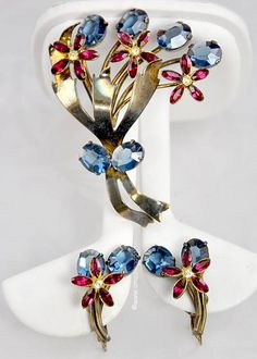 WOW! Very Rare Signed CALVAIRE Patriotic Sterling and Rhinestone Floral Set